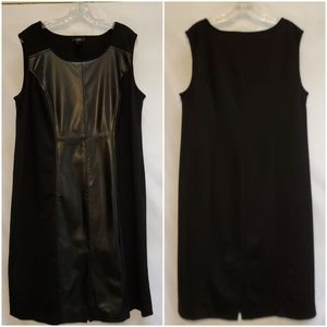Alfani Faux-Leather Panel Black Sheath Dress